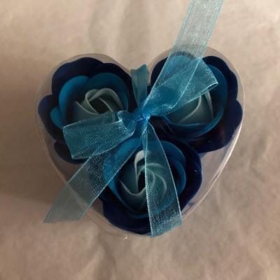 Boutons de rose de savon x 3 Bleu