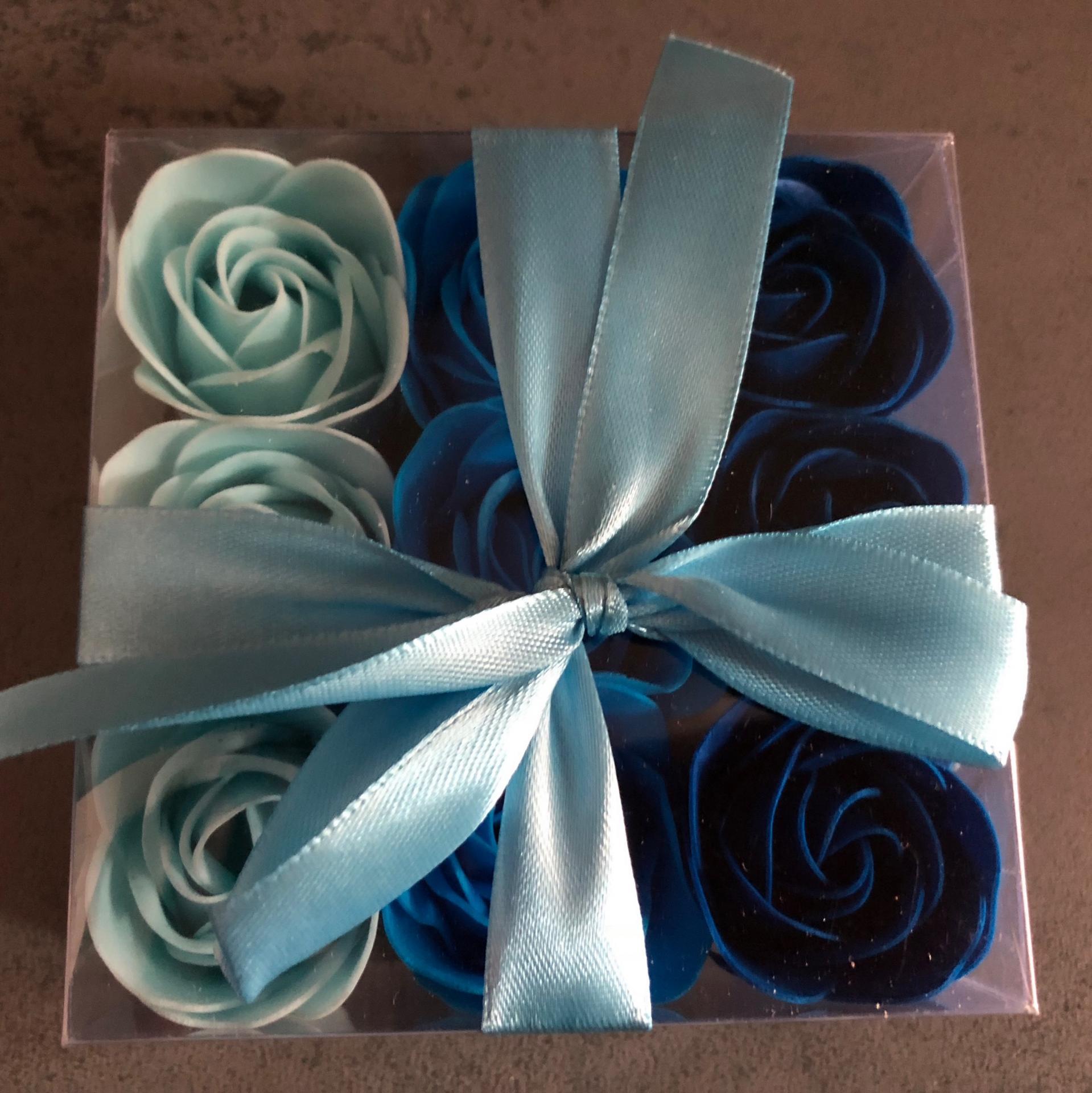 Boutons de rose x9 bleu