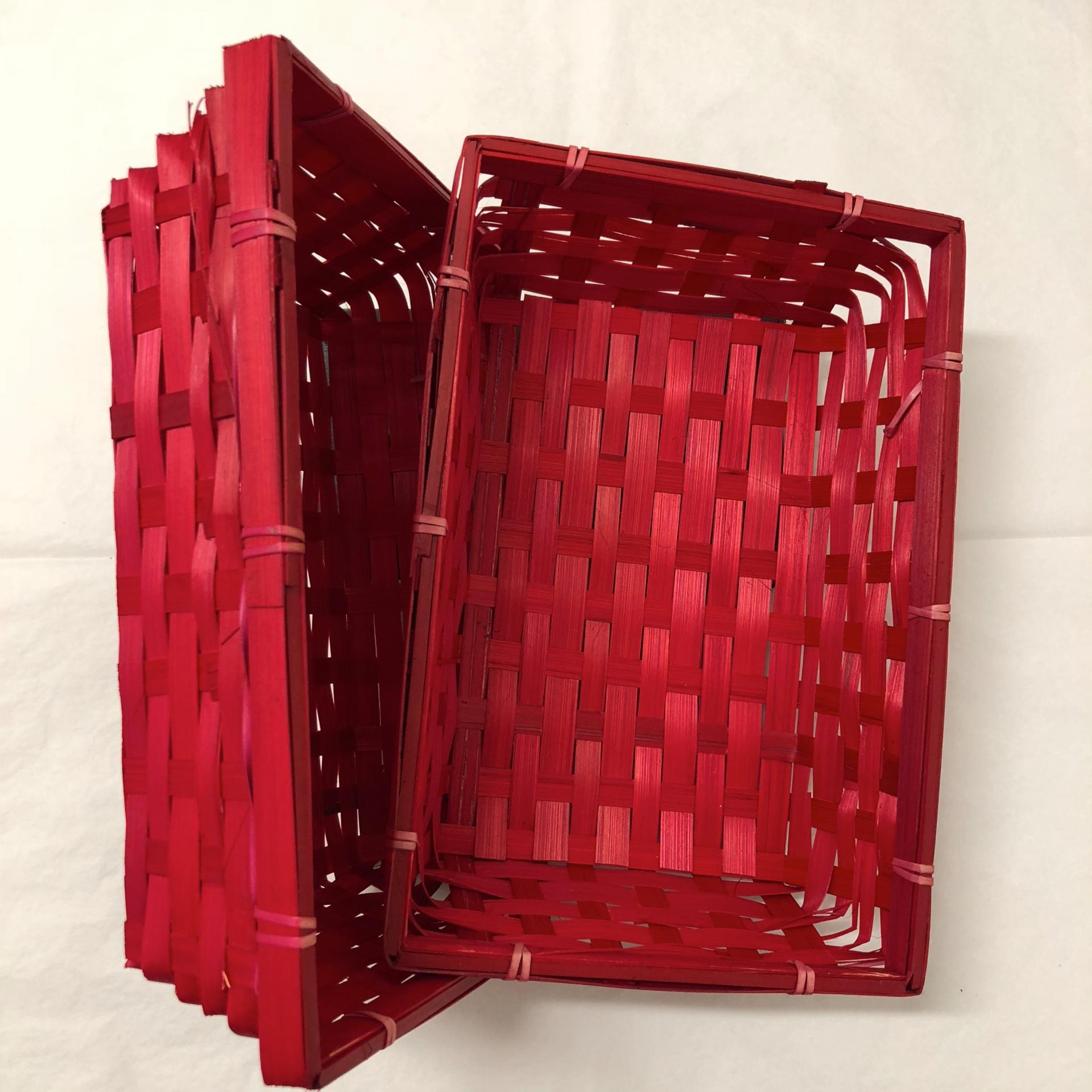 Corbeille en bambou rouge